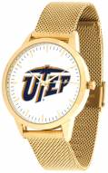UTEP Miners Gold Mesh Statement Watch
