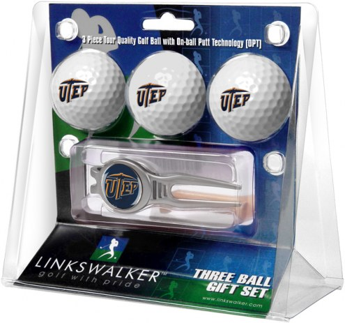 UTEP Miners Golf Ball Gift Pack with Kool Tool