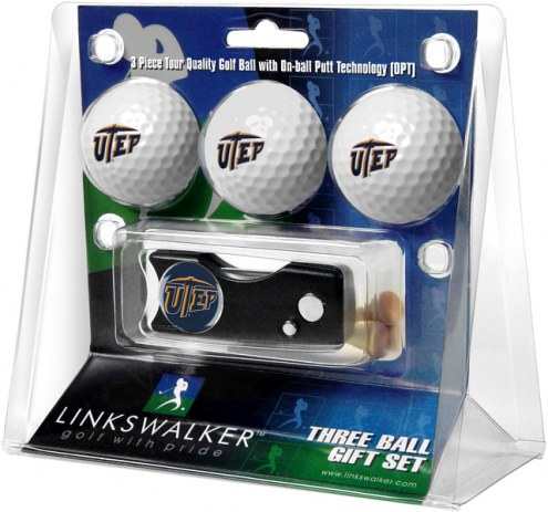 UTEP Miners Golf Ball Gift Pack with Spring Action Divot Tool