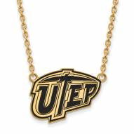 UTEP Miners Sterling Silver Gold Plated Large Pendant Necklace