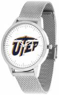 UTEP Miners Silver Mesh Statement Watch