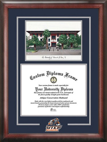 UTEP Miners Spirit Diploma Frame with Campus Image