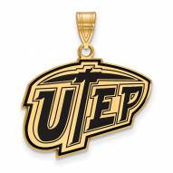 UTEP Miners Sterling Silver Gold Plated Large Enameled Pendant