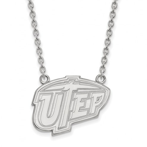 UTEP Miners Sterling Silver Large Pendant Necklace
