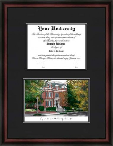 Virginia Commonwealth University Diplomate Framed Lithograph with Diploma Opening