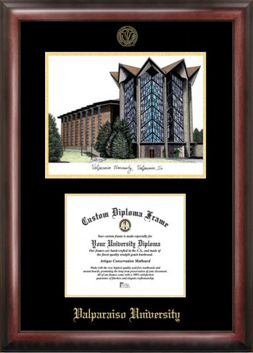 Valparaiso Crusaders Gold Embossed Diploma Frame with Lithograph