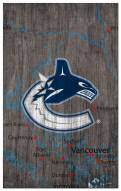 """Vancouver Canucks 11"""" x 19"""" City Map Sign"""
