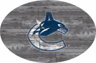 """Vancouver Canucks 46"""" Distressed Wood Oval Sign"""