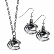 Vancouver Canucks Dangle Earrings & Chain Necklace Set