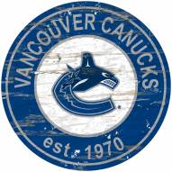 Vancouver Canucks Distressed Round Sign