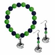 Vancouver Canucks Fan Bead Earrings & Bracelet Set