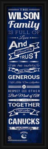 Vancouver Canucks Personalized Family Cheer Framed Art