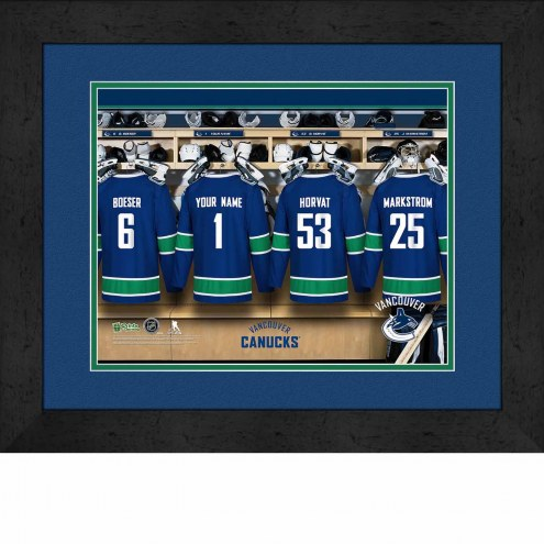 Vancouver Canucks Personalized Locker Room 13 x 16 Framed Photograph