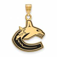 Vancouver Canucks Sterling Silver Gold Plated Large Enameled Pendant