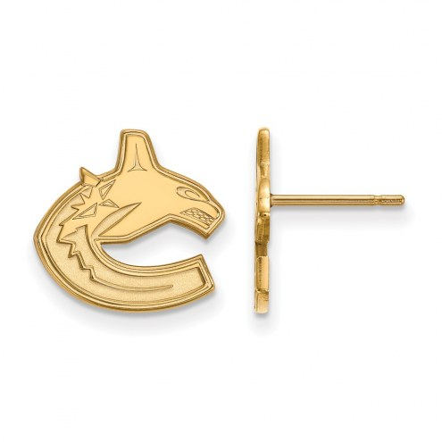 Vancouver Canucks Sterling Silver Gold Plated Small Post Earrings