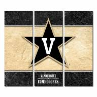 Vanderbilt Commodores Triptych Double Border Canvas Wall Art