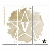 Vanderbilt Commodores Triptych Watercolor Canvas Wall Art