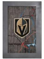 """Vegas Golden Knights 11"""" x 19"""" City Map Framed Sign"""