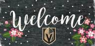 """Vegas Golden Knights 6"""" x 12"""" Floral Welcome Sign"""