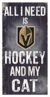 "Vegas Golden Knights 6"" x 12"" Hockey & My Cat Sign"
