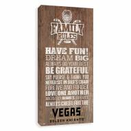 Vegas Golden Knights Family Rules Icon Wood Printed Canvas