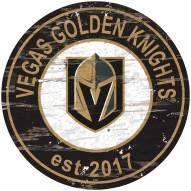 Vegas Golden Knights Distressed Round Sign