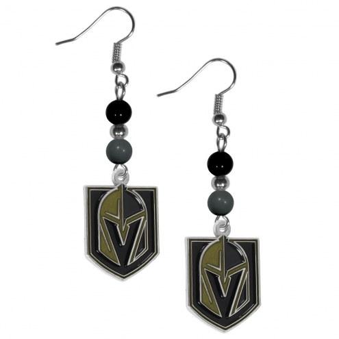 Vegas Golden Knights Fan Bead Dangle Earrings