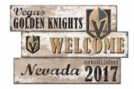 Vegas Golden Knights Welcome 3 Plank Sign