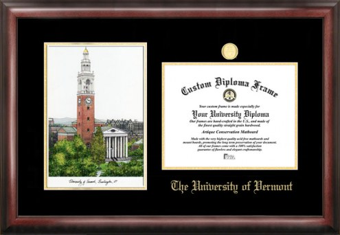 Vermont Catamounts Gold Embossed Diploma Frame with Lithograph