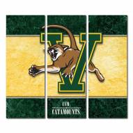 Vermont Catamounts Triptych Double Border Canvas Wall Art