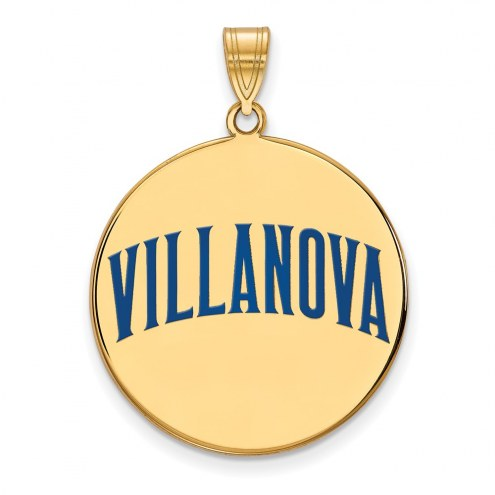 Villanova Wildcats Sterling Silver Gold Plated Extra Large Enameled Disc Pendant
