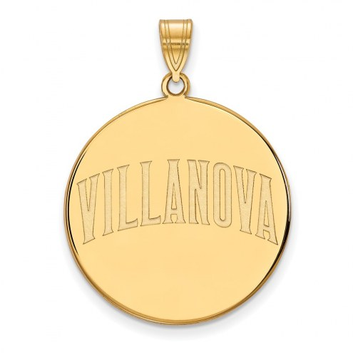 Villanova Wildcats Sterling Silver Gold Plated Extra Large Disc Pendant