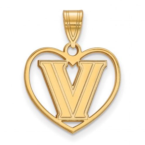 Villanova Wildcats Sterling Silver Gold Plated Heart Pendant