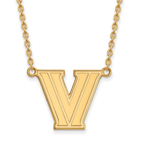 Villanova Wildcats Sterling Silver Gold Plated Large Pendant Necklace