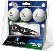 Virginia Cavaliers Black Crosshair Divot Tool & 3 Golf Ball Gift Pack