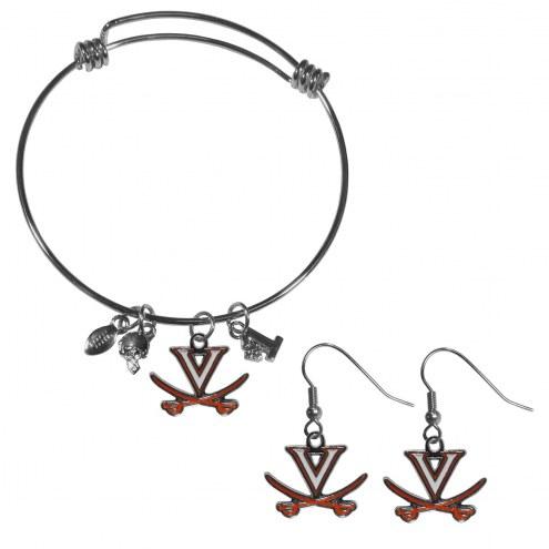 Virginia Cavaliers Dangle Earrings & Charm Bangle Bracelet Set