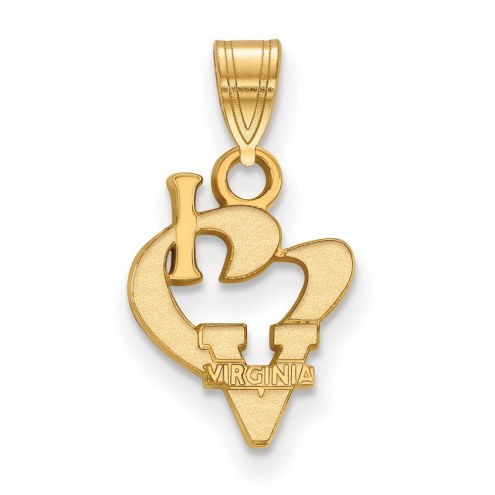 Virginia Cavaliers Sterling Silver Gold Plated Small I Love Logo Pendant