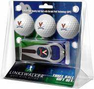 Virginia Cavaliers Golf Ball Gift Pack with Hat Trick Divot Tool