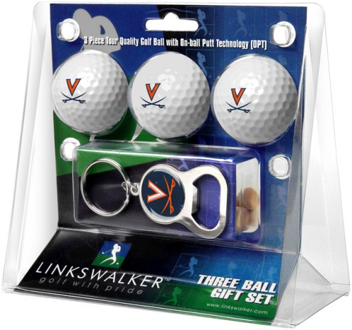 Virginia Cavaliers Golf Ball Gift Pack with Key Chain