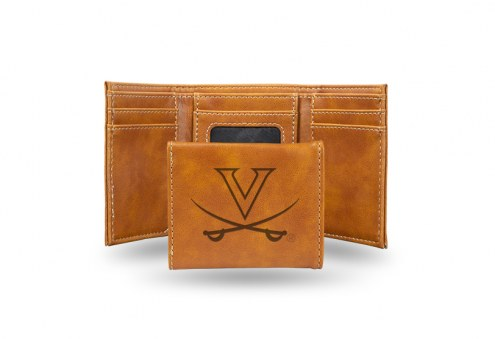 Virginia Cavaliers Laser Engraved Brown Trifold Wallet
