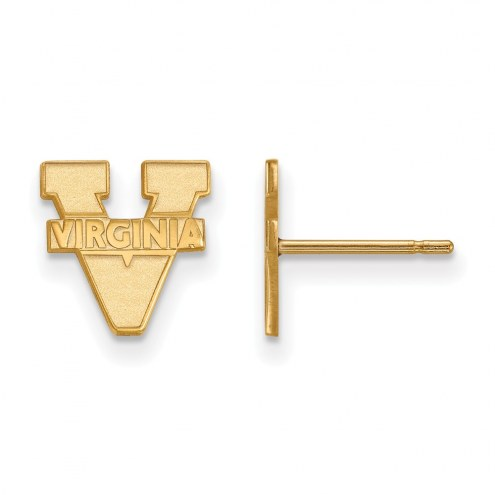 Virginia Cavaliers NCAA Sterling Silver Gold Plated Extra Small Post Earrings