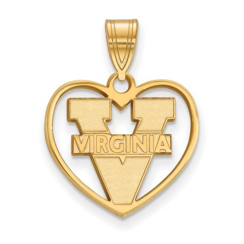 Virginia Cavaliers NCAA Sterling Silver Gold Plated Heart Pendant