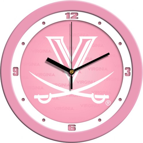 Virginia Cavaliers Pink Wall Clock