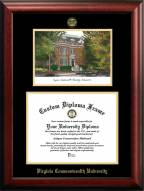 Virginia Commonwealth Rams Gold Embossed Diploma Frame with Campus Images Lithograph