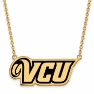 Virginia Commonwealth Rams Sterling Silver Gold Plated Large Pendant Necklace