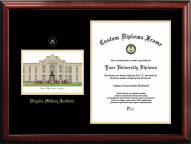 Virginia Military Institute Keydets Gold Embossed Diploma Frame with Campus Images Lithograph