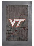 "Virginia Tech Hokies 11"" x 19"" City Map Framed Sign"
