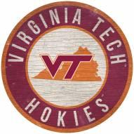 "Virginia Tech Hokies 12"" Circle with State Sign"