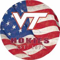 "Virginia Tech Hokies 12"" Team Color Flag Circle Sign"