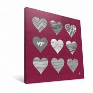 "Virginia Tech Hokies 12"" x 12"" Hearts Canvas Print"